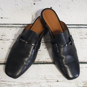 Halston Black Leather Mules Sz 8 M